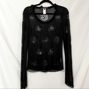 Trend Les Copains Black Ruffled Open Knit Sweater